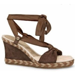 UGG Amelie suede shearling wedge lace up sandals